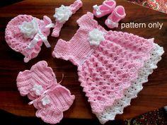 Baby Set Crochet Pattern(Baby Dress, hat, shoes, headband, shrug)