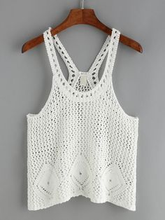 Crochet Hollow Out White Tank Top