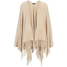 Joseph Spring Cashmere Poncho in ALMOND (1.460 BRL) ❤ liked on Polyvore featuring outerwear, almond, cashmere ponchos, pink poncho, short poncho, wrap poncho and style poncho