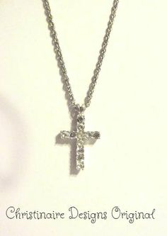 Cross Necklace silver and crystal pendant by ChristinaireDesigns, $29.00