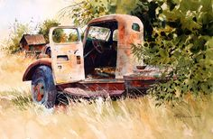 Fixer upper-needs parts Watercolor Artists, Watercolor Paintings, Oil Paintings, Fixer Upper, Color Splash, Antique Cars, Carving, Explore, Green