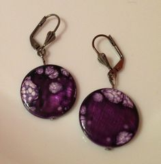 Earrings  Purple Mother of Pearl Disc Beads You by CraftyChic90, $3.50