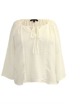 Quarter Sleeve Peasant Top with Crochet Detail