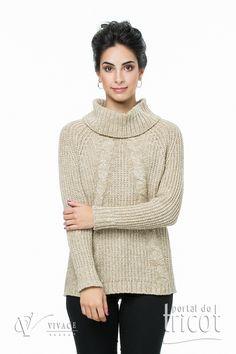 Portal do Tricot Turtle Neck, Knitting, Sweaters, Fashion, Elegant Woman, Charms, Tricot, Moda, Fashion Styles