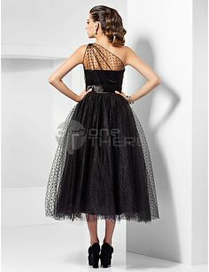 black white dresses cocktail dresses tea length | Prom Dresses 2013-A-line One Shoulder Tea-length Tulle Cocktail Dress ...