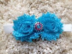 Blue and White Polka Dot Shabby Flower Infant by HannahHeadbands, $7.00