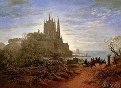 Karl Friedrich Schinkel - Gothic church on a cliff by the sea