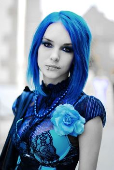 goth girl, blue, blue hair, goth, castle party