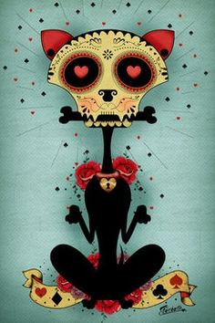 sugar skull cat Skull Reaper psychedelic hippie  Art Poster Print Postcard ☮~ღ~*~*✿⊱  レ o √ 乇 !! ~