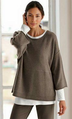 37bf093498 Needs a black turtleneck under this gorgeous taupe loose sweater.... kp.