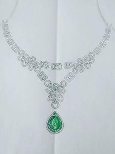 India Jewelry, Gold Jewellery, Jewelry Art, Jewelery, Jewelry Design, Real Diamond Necklace, Diamond Pendant, Diamond Jewelry, Jewellery Sketches