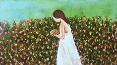 Child of God in Field of Flowers, Nashville, Tennessee artist, Dayo Art, Acrylic on Wood, Rustic Art, Rescued Wood Art, East Nashville, Original Art