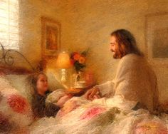 Painting of Jesus Christ visiting an ill child by Greg Olsen. Jesus visited my son when he was 3 years old. A beautiful story. Lds Art, Bible Art, Greg Olsen Art, Pictures Of Jesus Christ, Christian Artwork, Jesus Painting, Painting Art, Prophetic Art, Jesus Is Lord