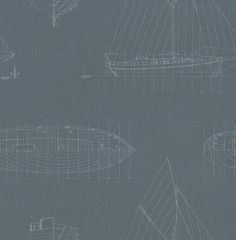 Fregate (FRG1993 6101) - Casadeco Wallpapers - Sketches of a tjalk boat with its measurement and sizing, finely drawn in pale blue stencil on a navy blue ground. A lighter colour way is available. Please request a sample for true colour match.