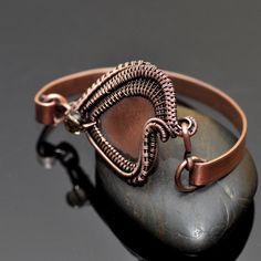 Wire Wrap Heart Bangle Bracelet - Nicole Hanna Jewelry