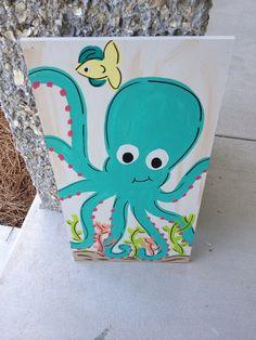 12x 24 Kids Sea Creature Wall Art Octopus por TheCoralAnchor