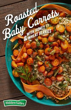 This recipe uses all the edible parts of carrots – tips, tops, and peels. Wheat berries add a nice texture to the salad. Hidden Valley Cucumber Ranch adds creamy freshness.