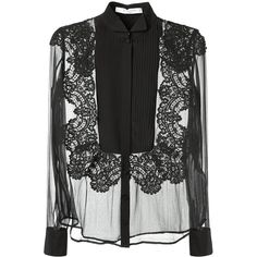 Givenchy Black Silk And Lace Transparent Black Top (2 200 AUD) ❤ liked on Polyvore featuring tops, blouses, sheer blouse, lace blouse, collared shirt, long sleeve silk blouse and long sleeve lace blouse