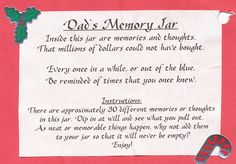Memory Jar label for a gift for dad