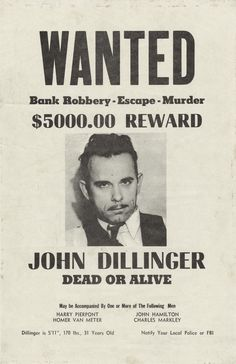 Vintage Apple Collection Solid-Faced Canvas Print Wall Art Print entitled John Dillinger Wanted Poster Mafia Party, Real Gangster, Mafia Gangster, Gangster Tattoos, Michelle Phillips, Harry Dean Stanton, Famous Outlaws, Le Far West, Nouvel An