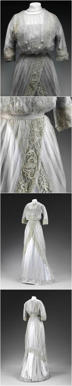 Silk chiffon dress with embroidered lace, made by Pickett, London, c. 1909, at the Victoria and Albert Museum. Possibly worn by Miss Heather Firbank as a debutante during her first Society Season. See: http://collections.vam.ac.uk/item/O358749/dress-pickett/