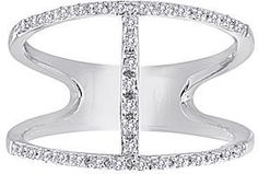 jcpenney FINE JEWELRY 1/7 CT. T.W. Diamond Sterling Silver Open-Design Ring on shopstyle.com