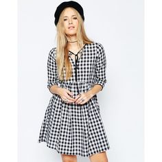 ASOS Gingham Smock Dress (986.705 VND) ❤ liked on Polyvore featuring dresses, multi, gingham dress, loose fitting dresses, smock dress, smocked dresses and gingham print dress