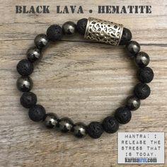 POSITIVE ENERGY: Lava Stone • Hematite Yoga Mala Bead Bracelet