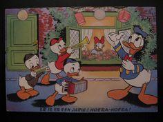 1954 Vintage Walt Disney Production Postcard...Donald Duck, Katrien, H, D and L