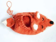 Make A Stuffed Toy Fox slippers knitting pattern - Mollie Makes Fox Slippers, Knitted Slippers, Knitted Hats, Baby Hats Knitting, Knitting Socks, Loom Knitting, Free Knitting, Animal Knitting Patterns, Mollie Makes