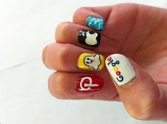 Social media nails - left hand. Made these up myself by looking at pictures of the logos!