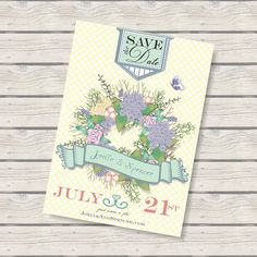 Shabby Chic Save the Date Floral Wreath 5x7 Announcement, Linen  from Etsy