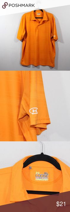 Under Armour HeatGear Loose Catalyst Golf Polo Under Armour Loose HeatGear Catalyst Golf Polo Shirt  Shirt  Comes from a smoke-free household  The size is XL  Measurements are:  24.5 inches underarm to underarm 30.5 inches top to bottom  Orange Striped  Polyester  US Shipping is FREE Canada is $15 and International is $24  Check out my other items in my store!  XL2 Under Armour Shirts Polos