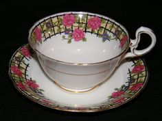 Vintage Aynsley China Teacup and Saucer Floral Trellis by RCSales, $26.00