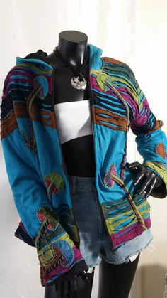 Hippy Boho Festival Handmade Unique Cotton Patchwork TOP Jacket Cardigan Fleece