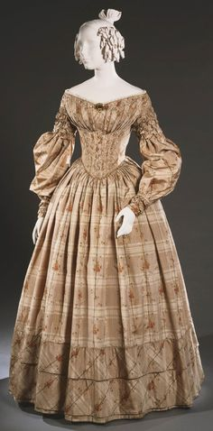 Philadelphia Museum of Art - Collections Object : Woman's Day Dress c.1838 warp-printed silk taffeta