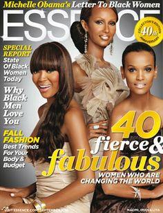 Flashback Friday: Essence 40th Anniversary Magazine Cover Naomi Campbell, Iman and Liya Kebede