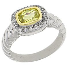 World Class Brilliance with Russian Formula Cubic Zirconia Stones Two-Tone yellow and white gold overlay Golden Topaz RN4498
