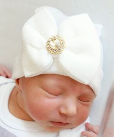 This White & Gold Embellished Bow Hospital Hat is perfect! #zulilyfinds