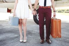 Vintage Airplane Engagement || Vintage Suitcases