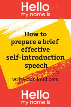 Easily followed step by step help to craft an excellent short speech to introduce yourself to new colleagues, members of a break-out session ... Speech Writing Tips, Writing Strategies, Public Speaking Activities, Public Speaking Tips, Self Introduction Speech, Confidence Building, Best Self, Learn English, Esl