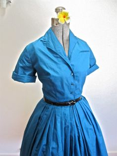 SOLD: S 50s Full Skirt Teal Blue Cotton Day Shirt by LikewiseVintage
