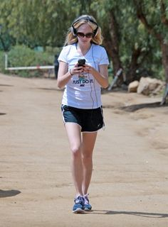 Candice Accola jogging in the Hollywood Hills, CA using a electronic device on her right shoe to monitor her steps.  #workout #sneakers #gym #style #hike #hiking #looks #actress #celebrity