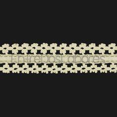 Entredós con cinta de encaje de bolillos de algodón mercerizado de 3,2 cm. (Disponible en 2 colores)