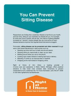 Learn about the health risks of prolonged sitting in this #AnnArbor #InHomeCare Tip. For more in-depth articles and information about #seniorhealth, visit http://www.rightathome.net/washtenaw/blog/. #healthyliving