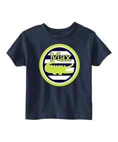 Look at this Navy Stripe Gator Personalized Tee - Infant, Toddler & Boys on #zulily today!
