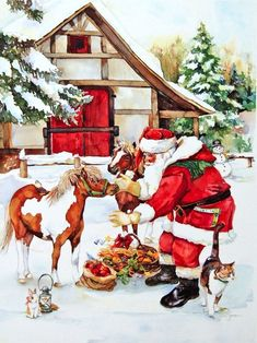 tubes noel pere noel - Page 17 Christmas Scenes, Father Christmas, Vintage Christmas Cards, Santa Christmas, Christmas Pictures, Christmas Time, Christmas Decor, Western Christmas, Christmas Horses