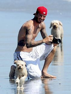 The only thing hotter than a man with his little ones is a man with his dog. - David Beckham