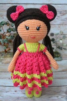 Купить Куколка Канти игрушка вязаная крючком - подарок, розовый, кукла, мишка, заяц, амигуруми