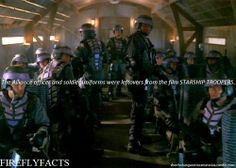 "shewhohangsoutincemeteries:  FireflyFacts 34/98 |  Behind the Scenes  ""The Alliance officer and soldier uniforms were leftovers from the film STARSHIP TROOPERS."""